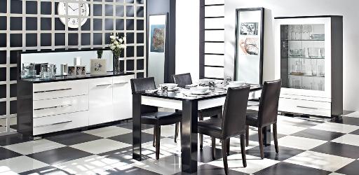 siyah beyaz doğtaş yemek odası takımı
