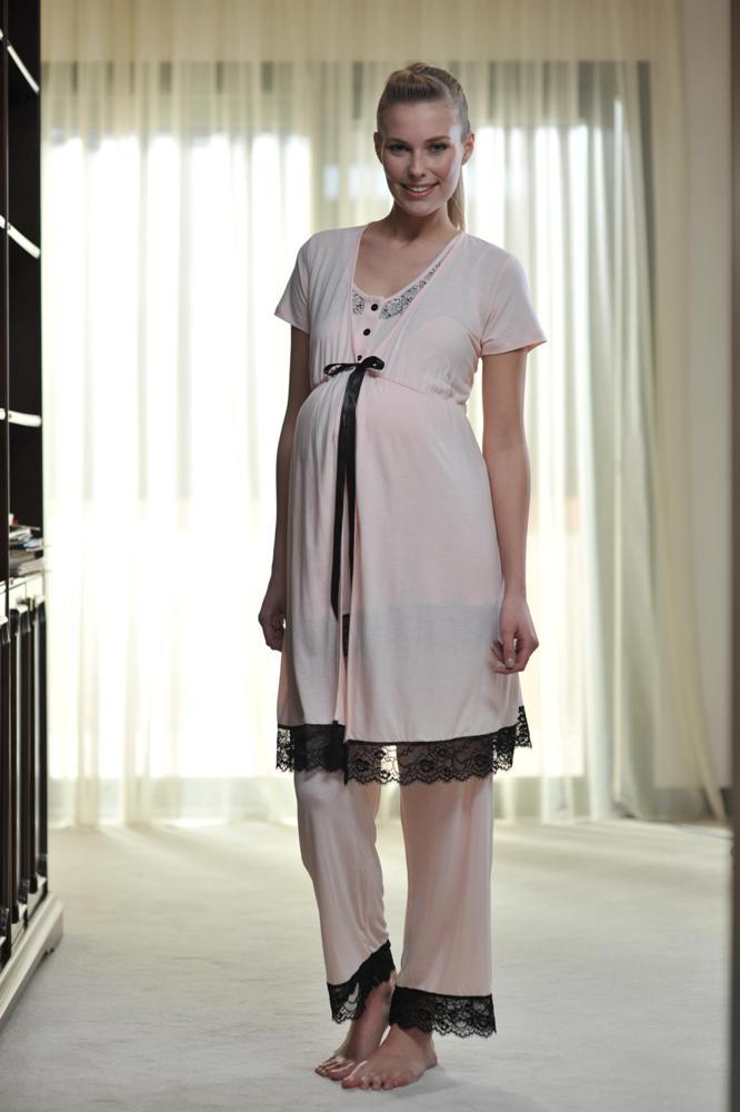 siyah dantel detaylı şık hamile gecelik modeli