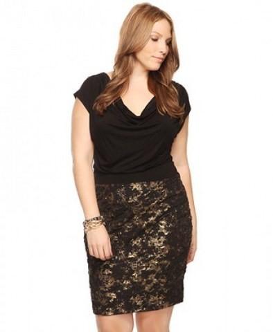 siyah desenli çok şık büyük beden elbise