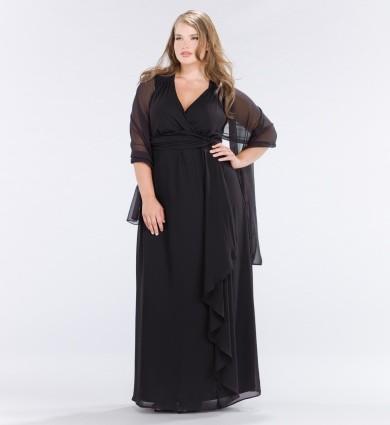 siyah uzun tül büyük beden elbise