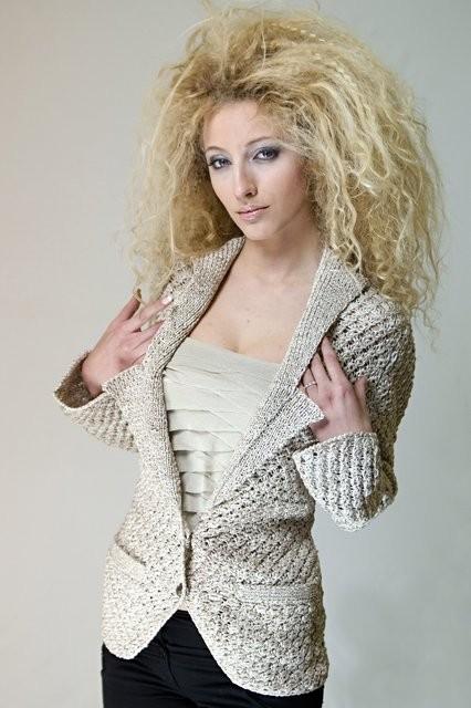 yakalı bayan örgü ceket modeli