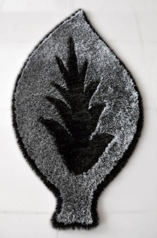 yaprak desenli gri dekoratif halı modeli