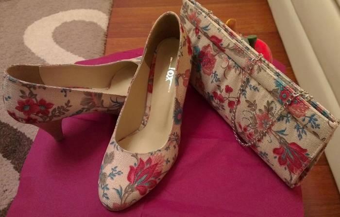 çiçekli ayakkabı çanta takımı