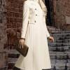 çok şık beyaz uzun bayan manto modeli