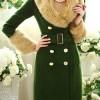 2013 bayan kürklü yeşil manto modeli