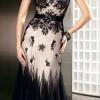 beyaz üzerine siyah dantelli abiye elbise modeli