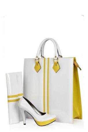 beyaz sarı ayakkabı çanta takımı