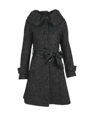 deri kemerli bayan kışlık manto modeli
