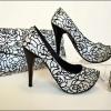 desenli çok şık siyah beyaz ayakkabı çanta takımı