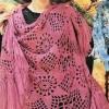 desenli gül kurusu renginde el işi şal modeli