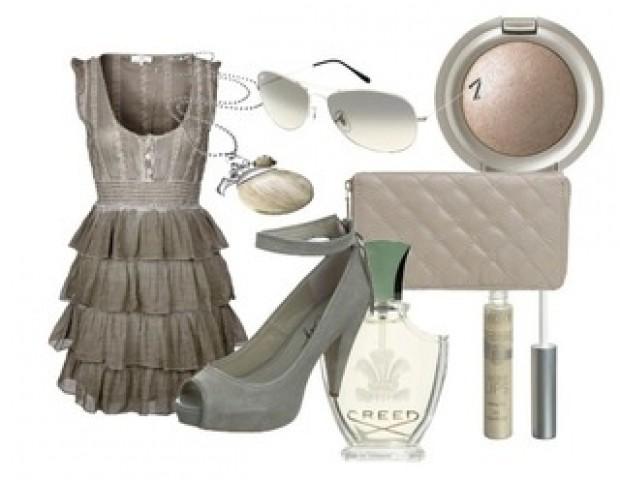 füme rengi elbise ayakkabı çanta kombini
