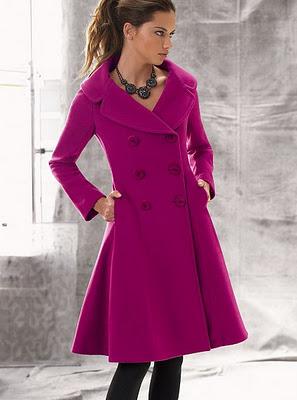fuşya renkli şık bayan manto modeli
