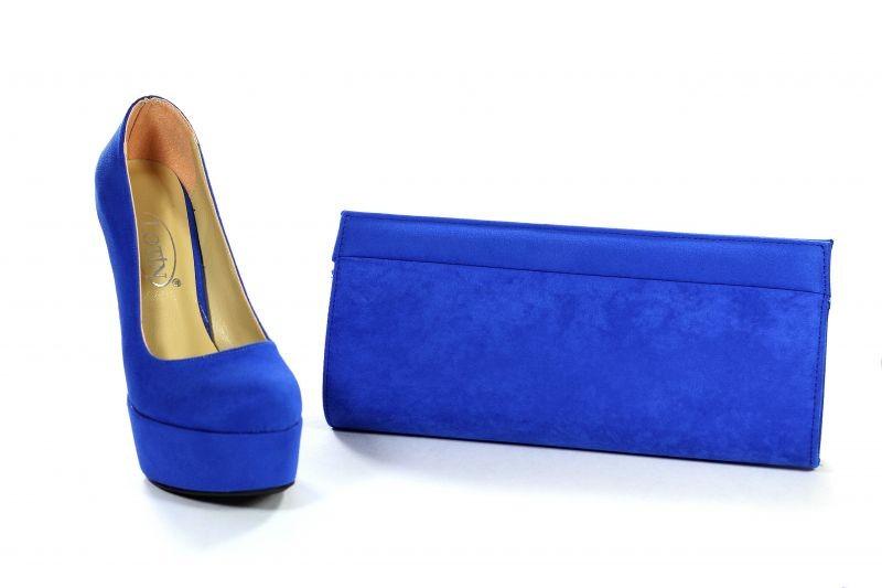mavi süet çanta ayakkabı takımı