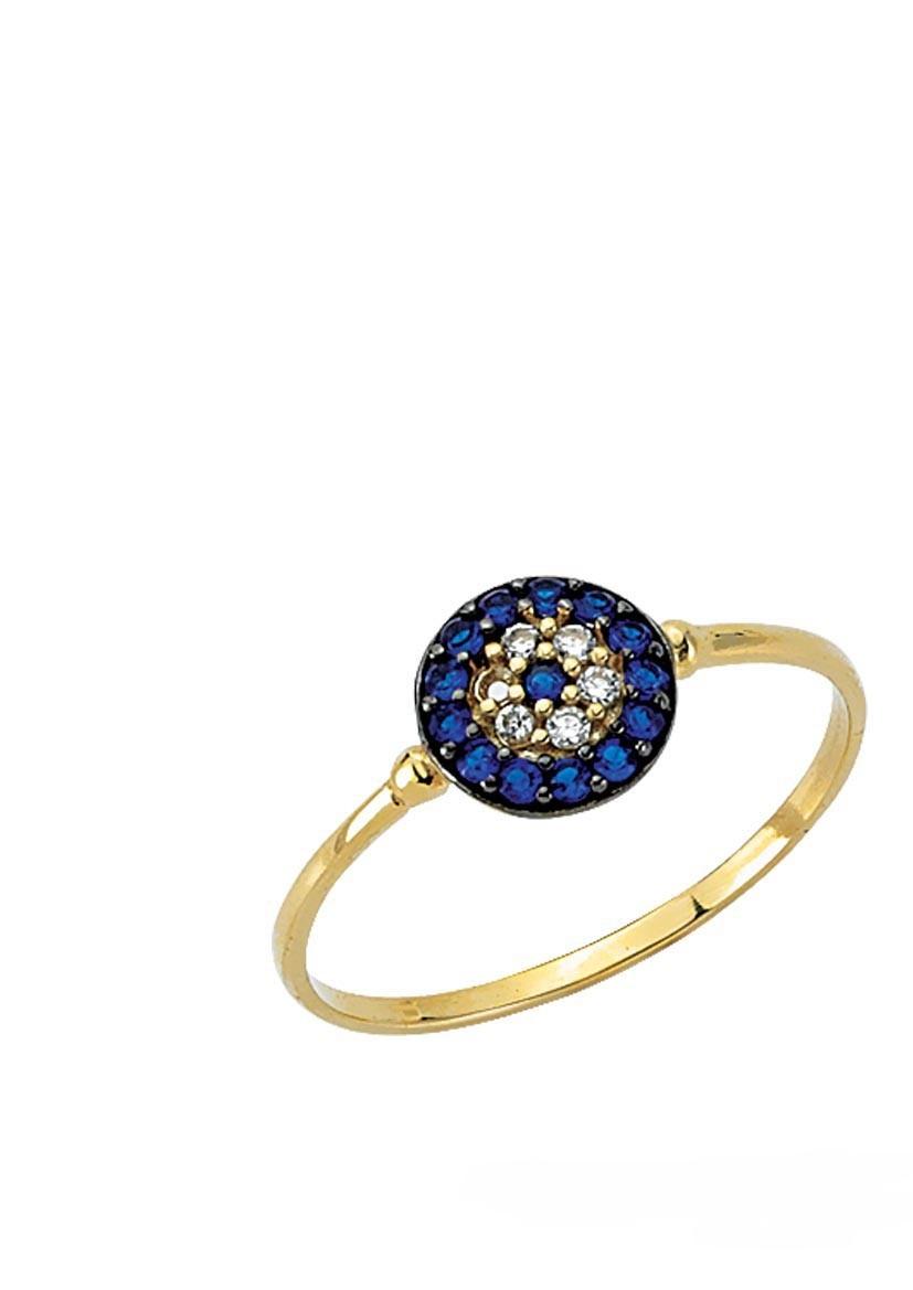 mavi taşlı altın bayan yüzük modeli