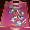 pembe mavi çiçekli boyama tepsi