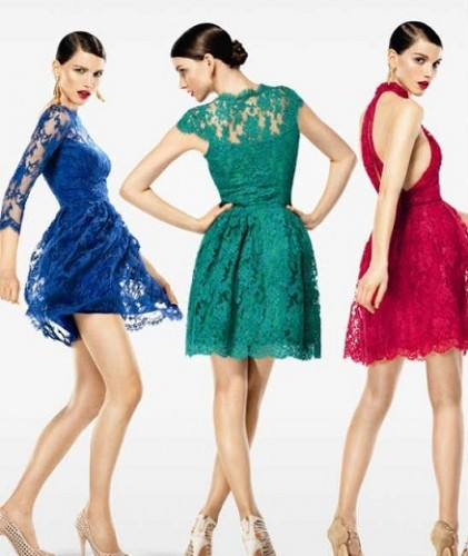 renk renk güpürlü bayan elbise modelleri