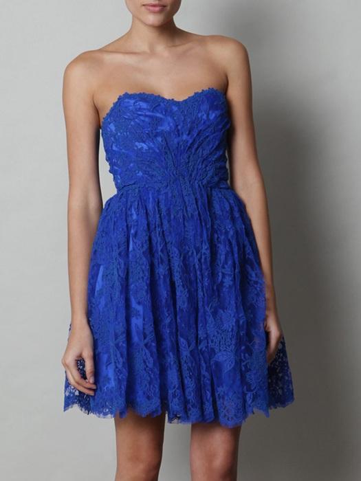 saks mavisi güpürlü mini elbise modeli