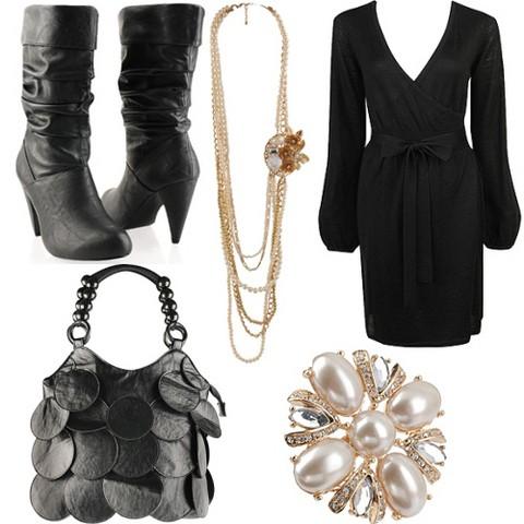 siyah elbise çizme çanta inci takı abiye kombin
