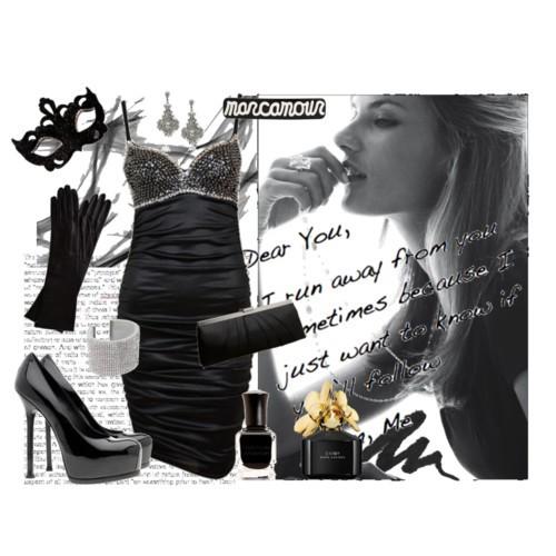 siyah ipli abiye elbise ayakkabı çanta aksesuar kombini