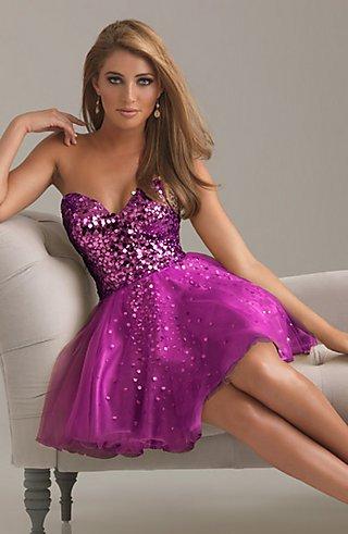 straplez pembe payetli mezuniyet elbisesi modeli