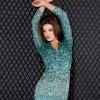 turkuaz renkli payetli elbise  modeli