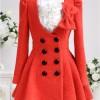 yakası fiyonklu çok şık kırmızı bayan manto modeli