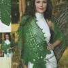 yeşil desenli örgü şal modeli