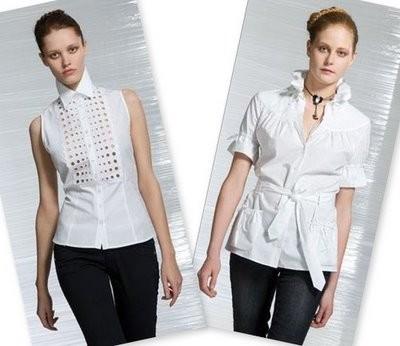 yeni moda bayan beyaz gömlek modeli