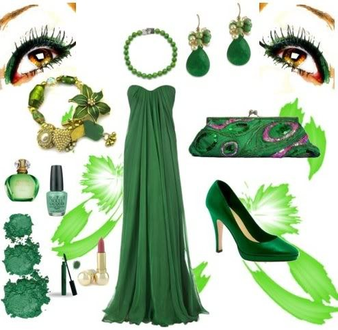 çok şık yeşil ayakkabı abiye elise takı kombini