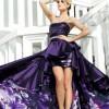 önü kısa arkası uzun straplez abiye elbise modeli