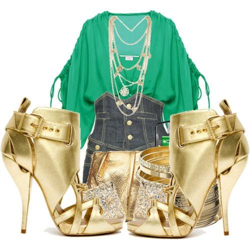 altın sarısı ve yeşil kombini