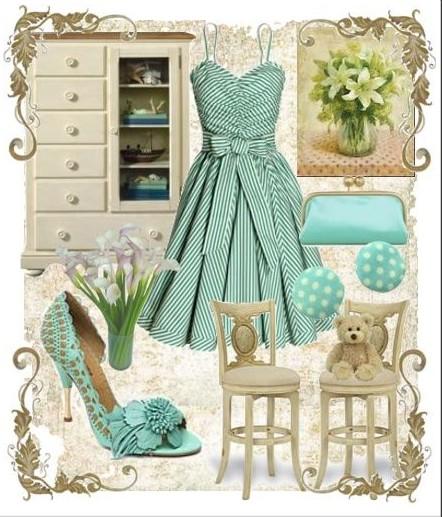 askılı yeşil elbise kombini
