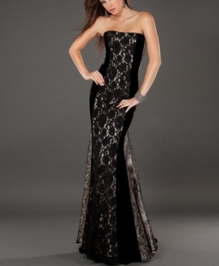 balık etekli dantelli abiye elbise modeli