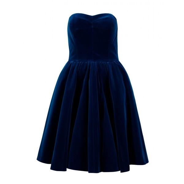 genç kızlar için lacivert kadife elbise modeli