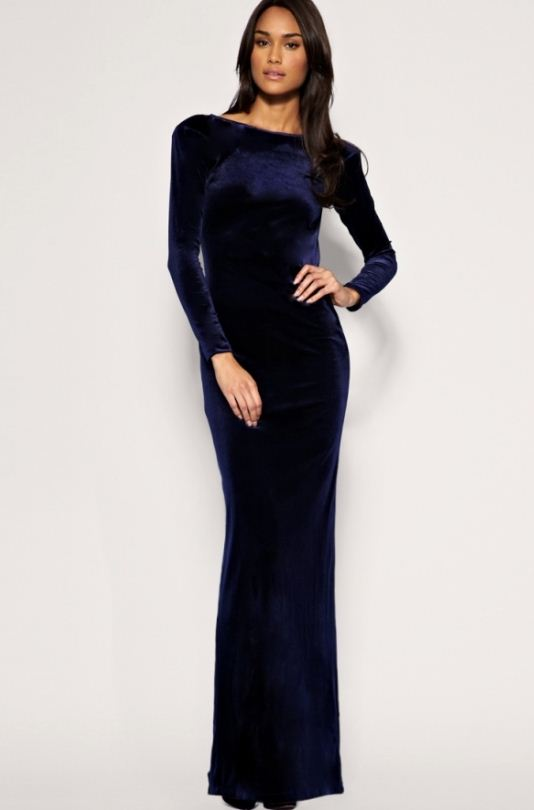 kapalı sade lacivert kadife elbise modeli