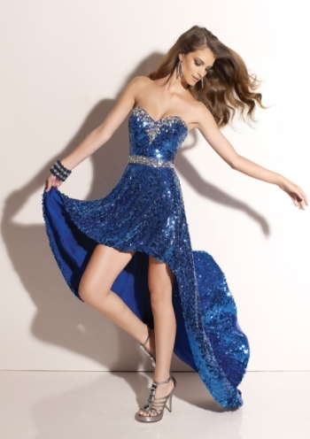 payetli saks mavisi önü kısa arkası uzun bayan abiye elbise modeli