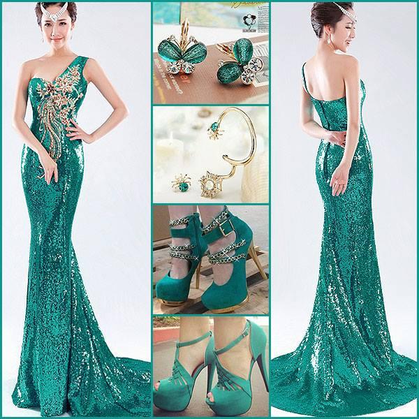 yeşil bayan abiye ayakkabı ve takı kombini modelleri