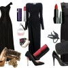 2013 çok şık siyah uzun elbise kombini