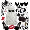 beyaz fırfırlı elbise ayakkabı çanta kombini