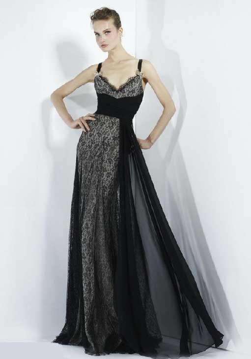 dantel tüllü siyah uzun abiye elbise modeli
