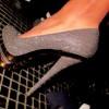 gri çok şık topuklu ayakkabı