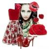 kırmızı çiçekli straplez elbise kombini
