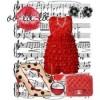 kırmızı kısa fırfırlı elbise kombini