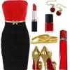 kırmızı siyah elbise kombini