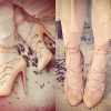 kahve ipli son moda topuklu ayakkabı