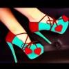 kalpli yeşil platformlu topuklu ayakkabı