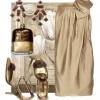 krem abiye elbise kombini