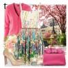 pembe çiçekli elbise yeni tarz kombin