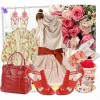 saten elbise kırmızı ayakkabı çanta kombini