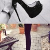 siyah zımba modelinde şık topuklu ayakkabı